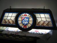 Beau VTG 1986 OLD STYLE BEER LOGO POKER POOL GAME TABLE BAR LIGHT SIGN HANGING 🎱