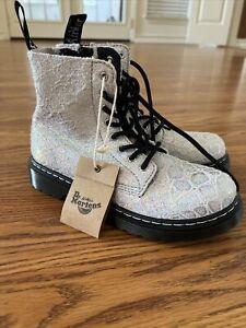 Dr Martens 1460 Pascal Rainbow Croc Metallic Zip Up Suede Boots Junior Size 3