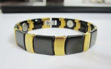 Black& Yellow Gold Tungsten Carbide Men Bracelet Magnetic energy Stone TS152