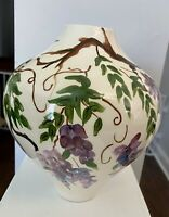 """Unique Hand Painted Wisteria-Patterned Vase Signed by Artist 8"""" x 21.5"""""""