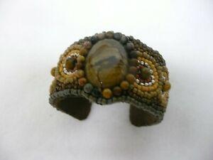 Owyhee Jasper Seed Bead Embroidered Cuff Bracelet OOAK