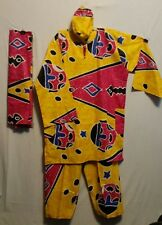 African Men Women Pant Suit with Hat & Scarf Wax Print Yellow Pink Free Size