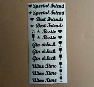Friends Gin or Wine Words Vinyl Stickers peel & stick cards gifts cards glass