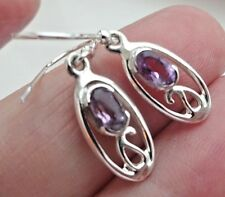 Superb Sterling Silver and Amethyst Dangly Drop Ear Rings