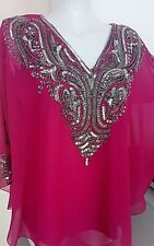 WOMENS OLIVIA TUNIC SEQUINS BLOUSES WEDDING TOPS NIGHT PARTY CAFTAN TOPS PONCHOS