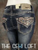 Womens GRACE IN LA Bootcut Jeans Crystal Curve Embroidered Flap Pockets!