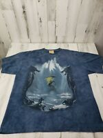 Mens The Mountain XL Dragons Water Blue Tie Dye 2002 Graphic Tee T-Shirt VTG