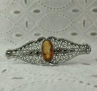 Art Deco Roman Intaglio Glass Cameo Marcasite Filigree Rhodium Plated Pin Brooch