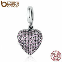 Bamoer Genuine 925 Sterling Silver CZ Heart Charm Lovely heart Fit Bracelets