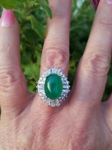 Beautiful Columbian Emerald Oval Cabochon Ring,Sterling Silver, Sz 7