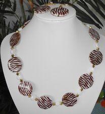 PERLMUTT SET Collier + Ohrringe 54 cm Perlmutt  Muschel Perlen braun weiss gold