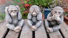 3 Wise Monkeys Garden Ornaments - Hand Cast