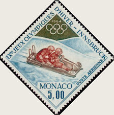 """MONACO AERIEN 83 """" JEUX OLYMPIQUES HIVER INNSBRUCK , BOBSLEIGH """" NEUF xx LUXE"""