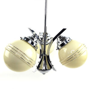 Art Deco 3 Arm Chrome Ceiling Light Fixture Yellow Glass Globe Shades