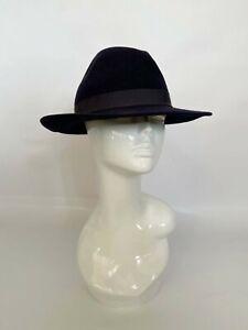 Vintage wool navy blue hat,Ascot, wool hat, races,church,trilby hat,fedora hat