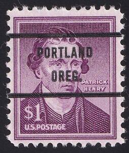 "1052a $1 Patrick Henry Bureau Precancel ""Portland Oreg."" MNH OG"