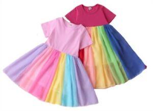 RAINBOW CHIFFON SHORT SLEEVE DRESS  - New