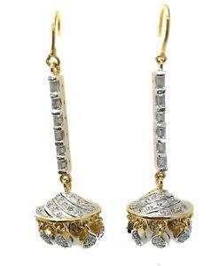 Bollywood Cubic Zirconia Dangle Designer CZ Earrings Two Tone Plated Jhumkaa