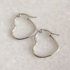 316L Surgical Stainless Steel Love Heart Hoop Hoops Earrings 20mm