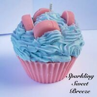 Cotton Candy Cupcake Candle, Handmade Candle, Dessert Candle, Bakery Candle