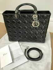 Christian Dior Lady Dior Bag: Black Leather with Silver Hardware
