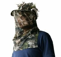 Hunting 3D Sneaky Cap with Face Mask Ghilie Hat Woodland Realtree Camouflage Cap