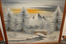 BARRISTER SNOW RIVER TREE LANDSCAPE LARGE OIL ON CANVAS PAINTING