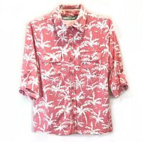 Anthony's Resort Wear Collared Pink & White Button Down 3/4 Tabbed Sleeve Small