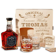 Wooden Box With Jack Daniels 6-tlg. Whisky Gift Set Incl. Engraving