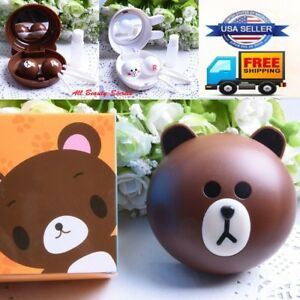 2Pcs bear+Rabbit Portable Cute Animal Contact Lens Case Container Holder Box Lot