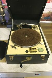 antique vintage decca model 50 no 3 gramophone black cream +needles working well