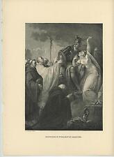 ANTIQUE CATHOLIC PATRON SAINT AUGUSTINE ETHELBERT CHRIST KING OF KENT ART PRINT