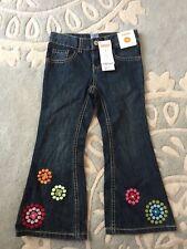 NEW Gymboree Winter Cheer Polka Dot Flower Hem Flare Jeans 4