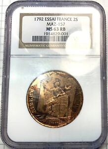 France Revolution 1792 ESSAI STRIKE 2S - NGC MS63 RB - Amazing Colors Wow!!