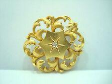 Broche Antiguo Oro Amarillo de 18 Quilates 750/000 Rosa de Diamante 3.75 Grs