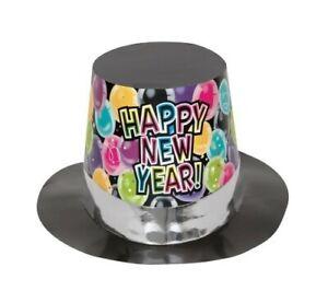 Happy New Year Balloons Cardboard Top Hat Pk 1
