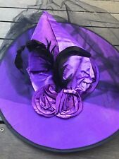Women Lady Girl Halloween Witchery Witches High Point Hat Cap with Mesh Veil