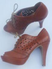 Guess Brown High Heel Peep Toe Platform Oxford Pumps (7.5 m) Lace-ups NICE!