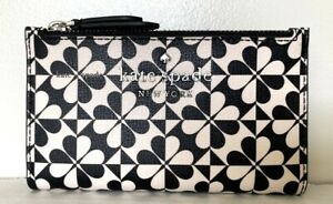 New Kate Spade Hollie spade small Slim Bifold wallet Leather Hollie Black White