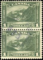 Used Canada 1930 F+ Pair Scott #177 $1.00 King George V Arch/Leaf Stamps