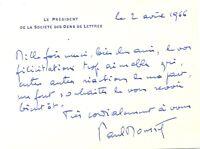 🌓 Paul MOUSSET (1907-1981)| Carte autographe signée Société des Gens de Lettres