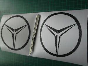 MERCEDES logo  sticker   carbon fibre  X2