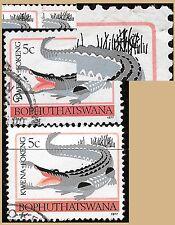 BOPHUTHATSWANA 1977 CROCODILE VARIETY 5c on 4c 1st DEFINITIVE SCOTT#9 USED 3000