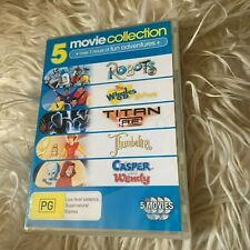 5 DVDS. ROBOTS, THE WIGGLES MOVIE, TITAN R.E, THUMBERLINA, CASPER MEET WENDY DVD