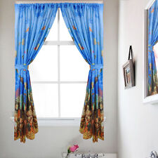 "Fabric Bathroom Window Curtain Set Underwater Sea Paradise  W/ Holdbacks 34""x54"""
