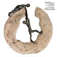 Skulptur Teamwork Holz Bronze mit Spruch Freunde H/B/T 30cm/29cm/6cm Casablanca
