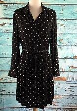 Madewell Broadway & Broome Polka Dot Shirt Dress Black White Medium NWT $145