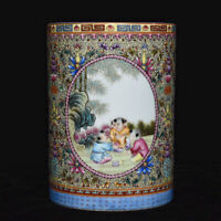 """5 """"Qianlong Vieux Chine Famille Rose Porcelaine Tongzi Pinceau Pot Crayon Vase"""