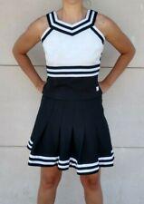 Real Chasse Adult High School Cheerleading Uniform Cheer Skirt Top Black White