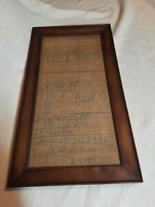 Antique school sampler framed alphabet Sarah Wollaston 1830 handmade